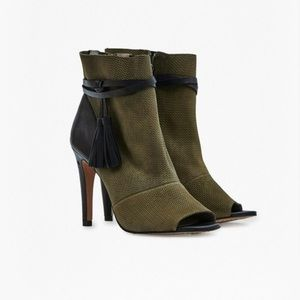 """French Connection """"Quinby"""" textured peep-toe boots"""